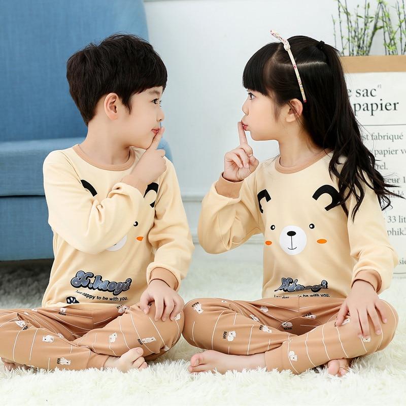 2019 Winter Kids Cotton Pajamas Set Baby Girl Clothes Kids Cartoon Sleepwear Pyjama Enfant Boys Pijama Toddler Inflant Nightwear