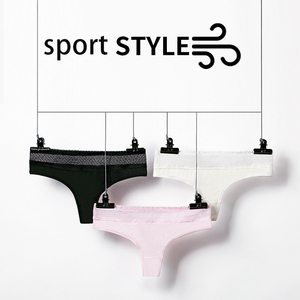 Image 4 - Lace Sexy Thongs Yoga Shorts Women Antibacterial Cotton Seamless Sports Thong Low Waist Sport Fitness Triangle Panties Underwear