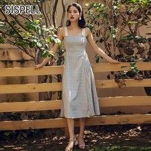 Женское клетчатое платье sispell лоскутное на бретельках без