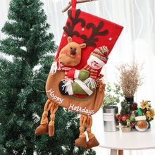 Long Extra-Large Xmas 3D Lively Christmas Stockings Santa Claus And Snowman Socks Design