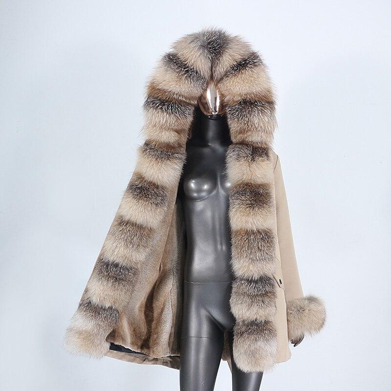 CXFS 2021 New Waterproof  Winter Jacket Women Real Fur Coat Natural Real Fox Raccoon Fur Hooded Long Parkas Outerwear Detachable 1