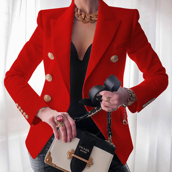Women's New Solid Color Fashion Sexy Multi Buttons 2020 Summer And Autumn Casual Suit Office Wear Elegant Short Coat FC996 9