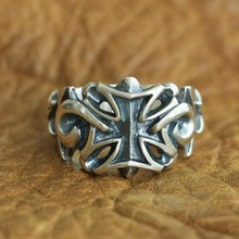 925 Sterling Silver Star Cross Ring Mens Biker Punk Ring US Size 7.5~10 18 to 36 925 sterling silver skulls mens biker rocker punk necklace 8w004n