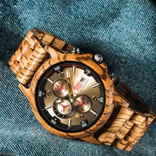 QW Sports Hot Selling Bamboo Brand Chronograph Wholesale Custom Men Wood Sport