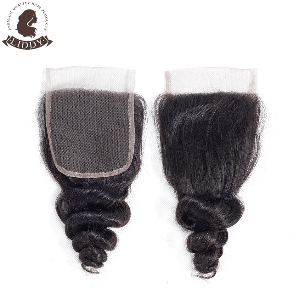 Liddy Loose Wave 4x4 Lace Closure 100% Human Hair Closure Brazilian Hair Weaving Natural Color Non-remy Hair Frontal Closure