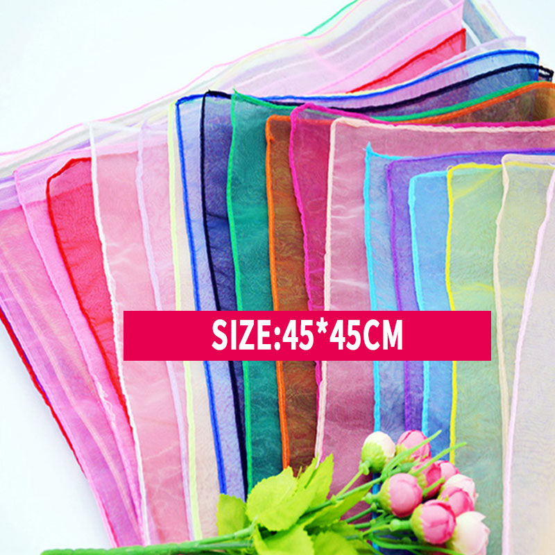 Kindergarten Performance Dance Show Silk Scarf Candy-colored Solid Scarf Women Summer Spring Transparent Square Chiffon Scarves