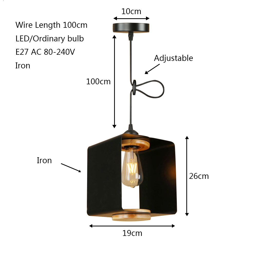 Country retro square iron pendant light LED E27 modern industrial hanging lamp with 4 colors for cottage parlor bedroom shop bar