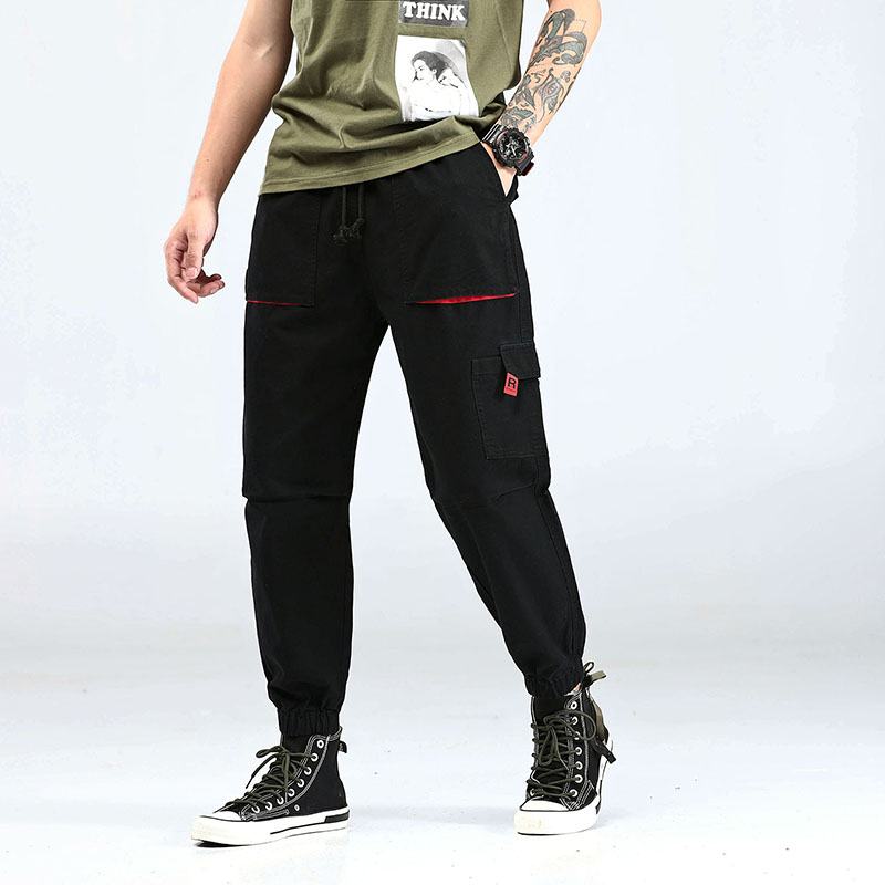 Japanese Style Fashion Men Jeans Casual Black Color Multi Pockets Cargo Pants Harem Trousers Streetwear Hip Hop Jogger Pants Men