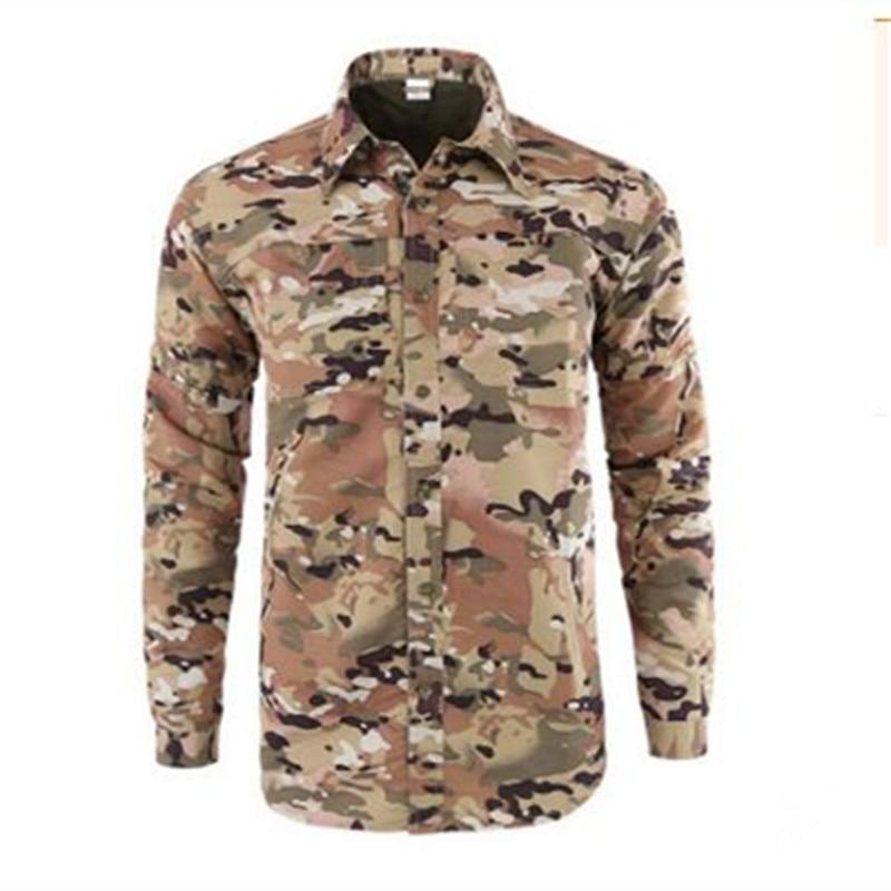 Мужская быстросохнущая рубашка на открытом воздухе Съемная с длинным/коротким рукавом дышащая походная Военная Маскировочная рубашка Спортивная одежда - Цвет: CP Camouflage