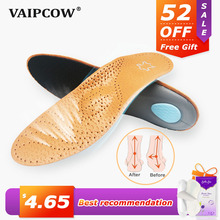 VAIPCOW High quality Leather orthotic insole for Flat Feet Arch Support orthopedic shoes sole Insoles for men and women heigh quality thickened memory form orthotic insole flat feet arch support height 3cm deep heel cup for men and women shoes