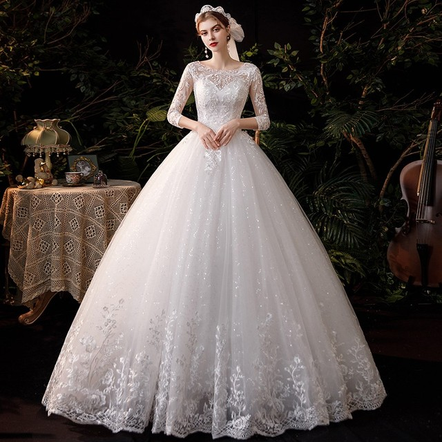 New Sweetheart Three Quarter Elegant Wedding Dress With Sleeve Long Lace Embroidery Train Bridal Gown Plus Size Vestido De Noiva 1