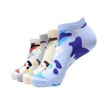 4 пар/лот, мужские хлопковые носки на весну, лето и осень, забавные камуфляжные носки, мужские и мужские цветные художественные короткие носки