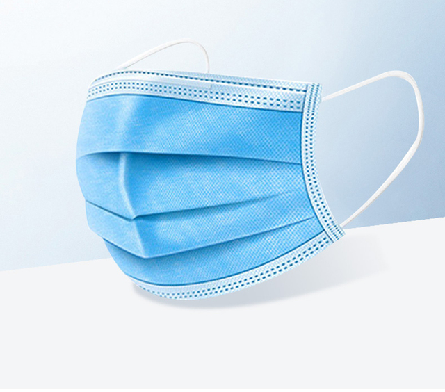 In stock High Quality Non Woven Disposable  blue Face Mask 3 Layers Active Carbon Mouth Mask