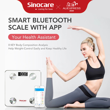Sinocare Smart Body Fat Composition Scale Bathroom Scale Test 12 Body Date Mass BMI Health Weight Scale LED Display Bluetooth bluetooth body fat scale bmi scales smart wireless digital bathroom weight scale body composition analyzer weighing scale