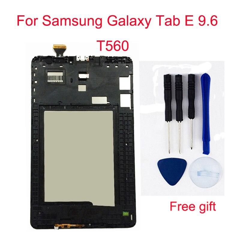Para Samsung Galaxy Tab 9.6 E T560 SM-T560 SM-T561 Screen Display LCD + Digitador Da Tela de Toque LCD Montagem Sensor de Quadro