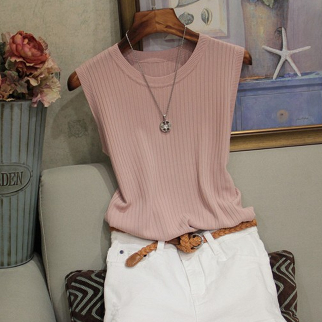 Fashion Woman Blouse 2021 Summer Sleeveless Blouse Women O-neck Knitted Blouse Shirt Women Clothes Womens Tops And Blouses C853 3