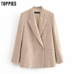 Toppies 2020 модный Женский блейзер двубортный прямой костюм куртка Женский деловой Блейзер женская верхняя одежда