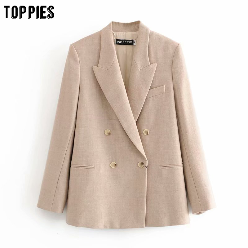 Toppies 2020 Fashion Womens Blazer Double Breasted Straight Suit Jacket Ladies Formal Blazer Ladies Outwear