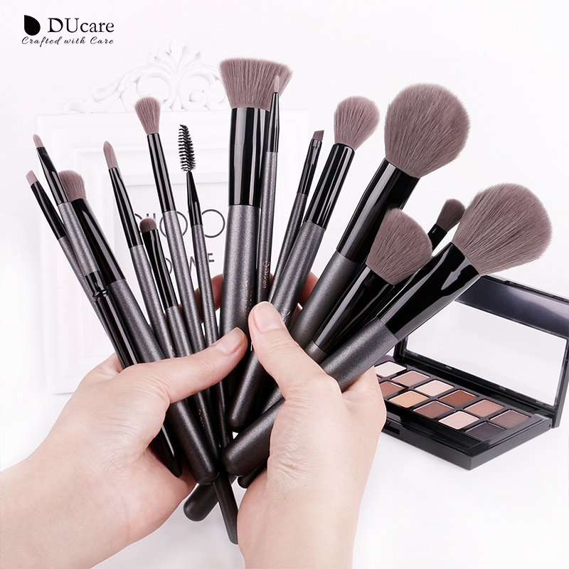 DUcare  Makeup Brushes Sets 15PCS high quality Professional brush set with Portable Mirror cosmetic make up brushes with bag