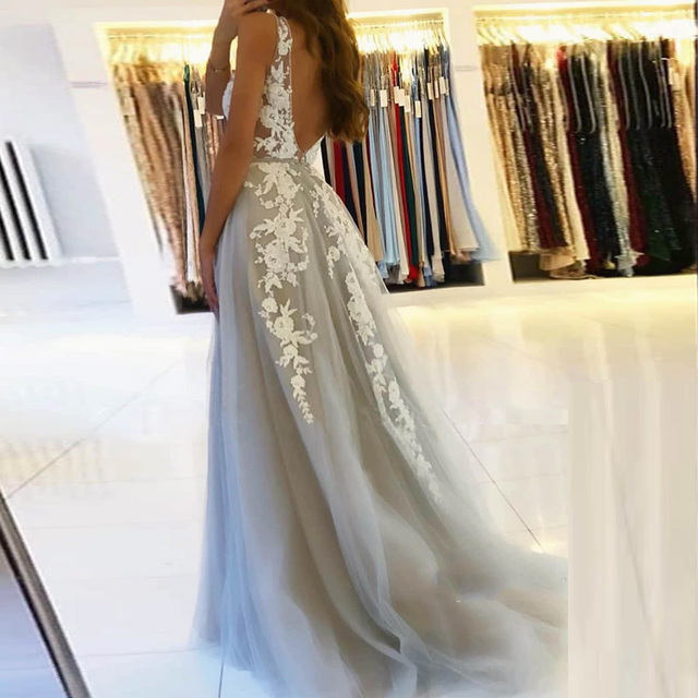 BEPEITHY V Neck Long Prom Dresses 2021 For Women Sexy Gray Summer Backless White Lace Dubai Evening Party Gown New 2