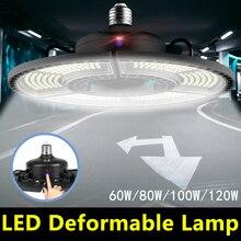 E27 Led Deformable Garage Light 220V Led High Bay Lamp 60W 80W 100W 120W Led E26 UFO Super Bright Industrial Lighting Bulb 110V