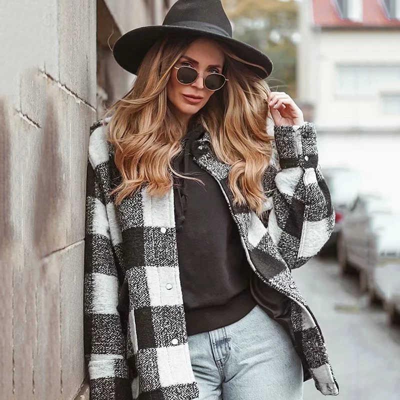 Vintage frauen elegante plaid jacken 2019 winter mode damen patchwork mäntel weibliche dicken woll jacke mädchen übergroßen outfit