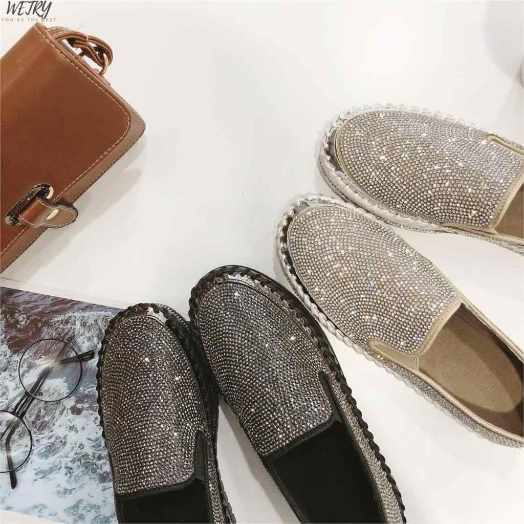 Mocassini scarpe da donna di lusso di cristallo d'argento scivolare sulla piattaforma scarpe casual donna shinning bling solido nero tacco piatto scarpe