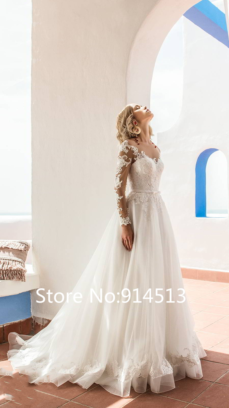 Image 3 - Glamorous Tulle Jewel Neckline Ball Gown Wedding Dresses With Lace Appliques Belt Long Sleeve Wedding Gowns Vestido de Noiva-in Wedding Dresses from Weddings & Events