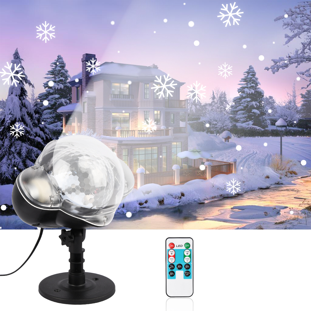 Led Christmas Snowflake Laser Light Snowfall Projector IP65 Garden Lamp Moving Snow Outdoor Christmas Decorations For Home