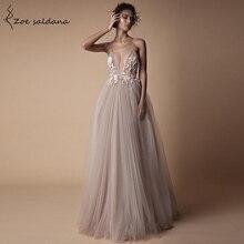 Zoe Saldana Women Wedding Party Dresses spaghetti strap v-neck Appliques tulle backless Robe De Soiree цена и фото