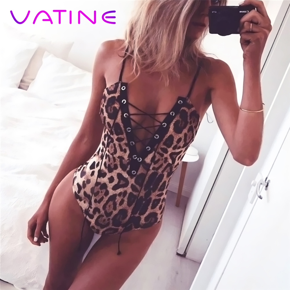 VATINE Open Crotch Teddy Tie Bustier Deep V Underwear Costumes Dress Sexy Lingerie Pajamas For Women Lace Porno Babydoll Bandage