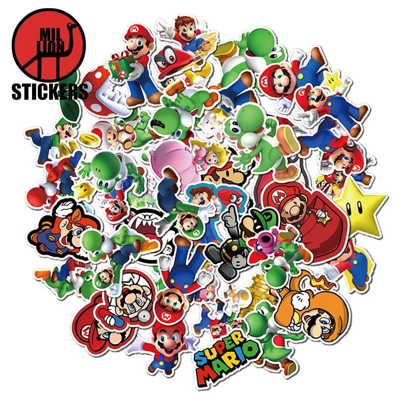 25/50pcs Cartoon Game Super Mario Laptop Stickers DIY Sticker For Kids Toys Cars Bags Phone Desk Laptop Bicycle Waterproof