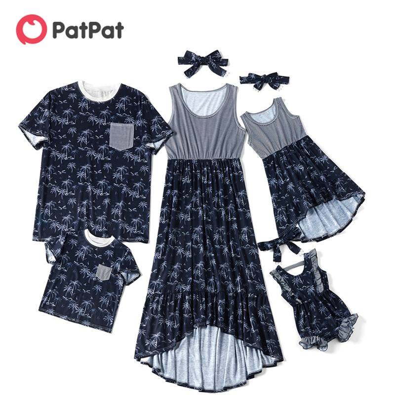 Patpat T-Shirt Dress Rompers Matching Royal-Blue Family-Look And Sleeveless Coconut-Tank