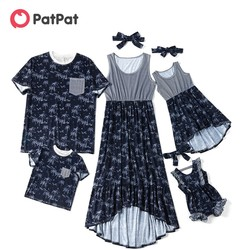 PatPat 2020 Лидер продаж, летние Семейные комплекты, ярко-синее кокосовое платье без рукавов, футболка и комбинезоны, одежда для всей семьи