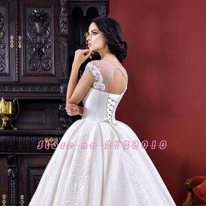 Image 4 - فساتين زفاف فساتين زفاف 2020 Vestido De Noiva Princesa ذات أكمام قصيرة بأربطة مطرز بالخرز لؤلؤ مزين فستان رائع