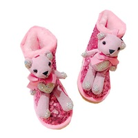 New Water Drill Little Bear Girl'S Snow Boots Princess Sequin Boots Parent Child Cotton Shoes Children'S Warm Middle Tube Boots
