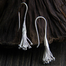 Fyla Mode 925 Sterling Silver Long Tassel Earrings For Women Thai Process Elegant Lady Sterling-Silver-Jewelry 9.5*42mm 6G