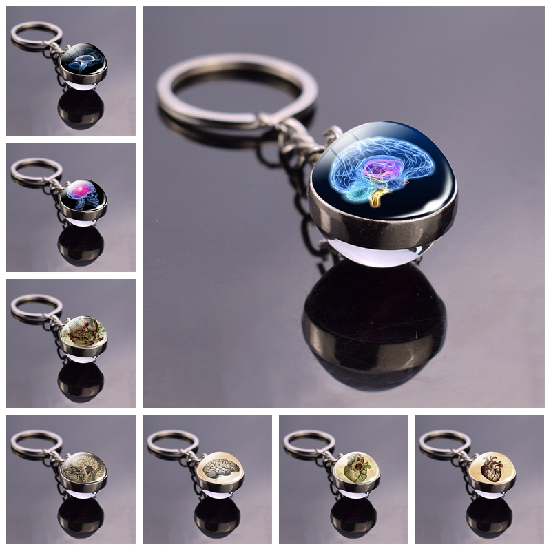 Human Head Skull Keychain Pendant Anatomy Science Brain Keychain Keyring Double Side Ball Key Chain Key Holder Doctor's Gift