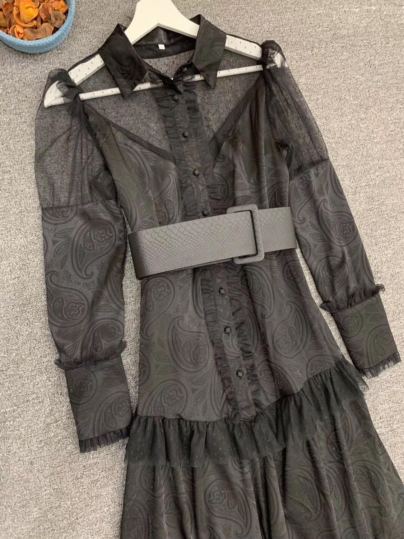 LINGHAN Imprimiu o Vestido Maxi do vintage das Mulheres Sexy Malha Patchwork Elegante Vestidos Plissados Partido Marca Designer Novo - 5