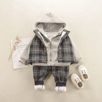 3pcs baby boys clothes sets winter fall birthday outfit toddler cloth kids sport suit for boys cotton warm hoody vest 0 6 years Baby Boys and Girls Christmas Winter Warm Sports Plus Velvet Cotton Clothes Three-piece Baby Suit Toddler Clothes BGirl Outfit
