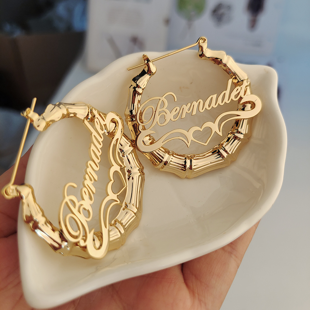 40mm-90mm Custom Bamboo Hoop Earrings Customize Name Earrings Bamboo Style Personality Earrings With Statement Words Hiphop Sexy