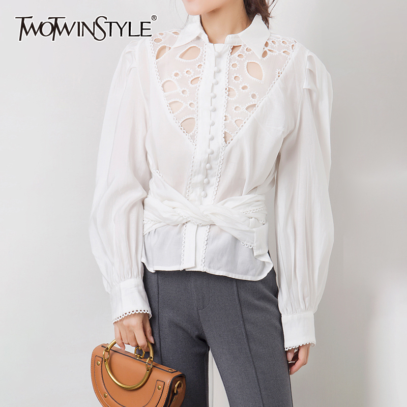 TWOTWINSTYLE Bowknot Patchwork Lace Hollow Out Shirt Lapel Collar Lantern Long Sleeve Female Shirts Autumn 2020 Fashion New
