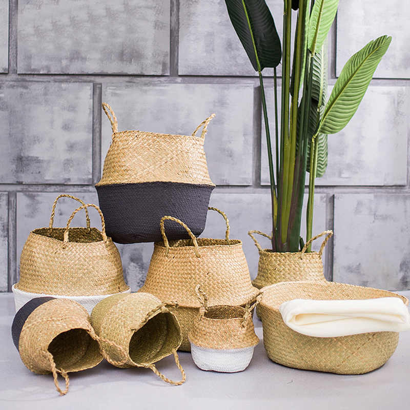 Rattan Folding Hanging Flower Pot Planter Woven Dirty Laundry Hamper Storage Basket Holder Seagrass Wickerwork Basket Home Decor