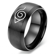 Naruto-Ring Konoha Anime Jewelry Sasuke Symbal-Logo Ninja Titanium-Steel Black Cosplay Women
