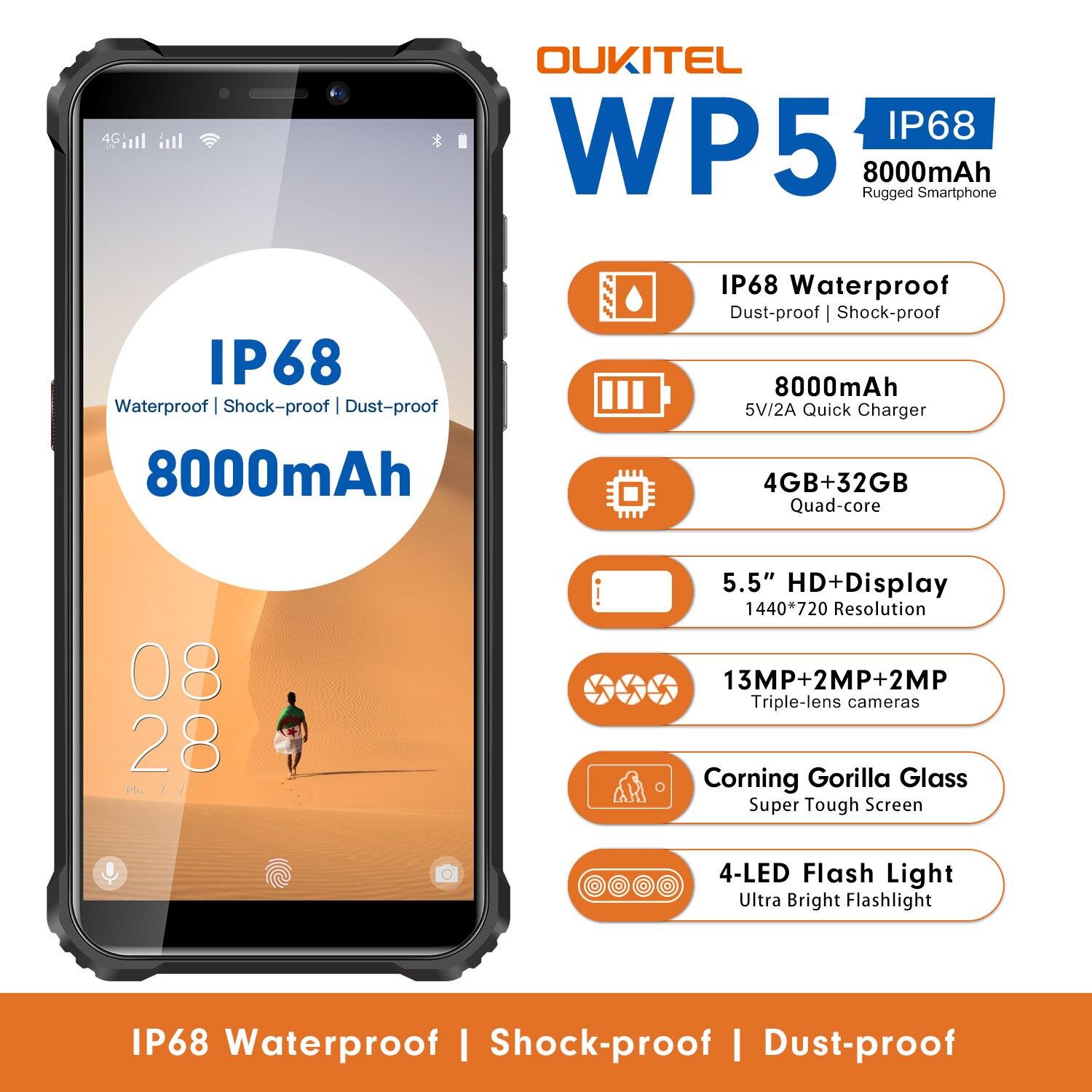 Смартфон OUKITEL WP5, 4+32Гб, батарея 8000 мАч, камера 13 Мп, экран 5,5