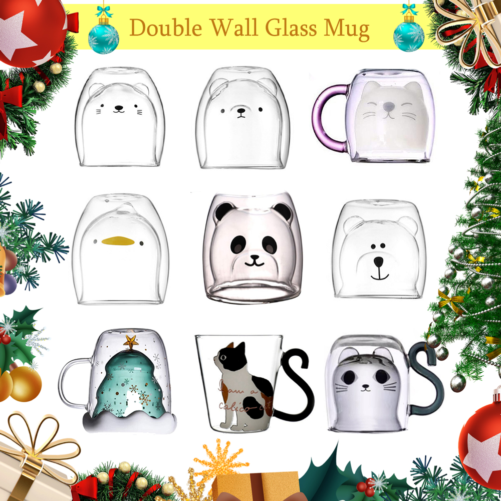 Creative Cute Bear Coffee Mug Double Glass Cup Carton INS Animal Milk Juice Lady Valentine's Day Anniversary Gift