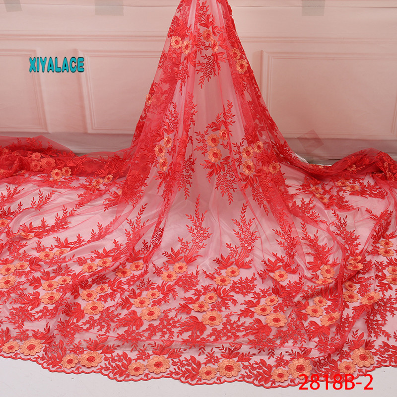 Latest Nigerian Organza Lace Fabrics 2019 High Quality African Embroidery Laces Fabric French Tulle Lace Material YA2818B-2