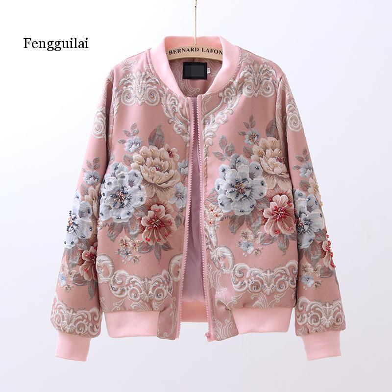 primavera e outono nova retro tribunal jacquard bordado pesado industria frisado gola de manga longa jaqueta
