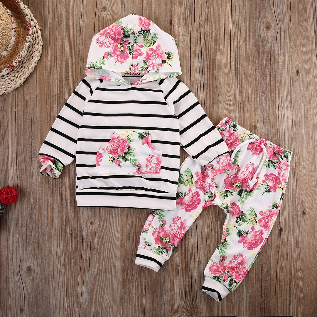 Long Sleeve Stripe Hoodie Sweatshirt Top And Floral Pant Tracksuit 2pcs Set For Baby Girl Clothes