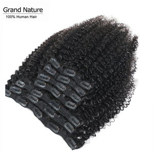 Peruvian Afro Kinky Curly Clip In Human Hair Extensions Natural Color Full Head 7Pcs/Set 120G Remy Hair 12-22inch Grand nature